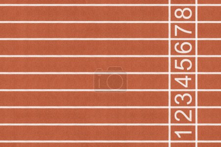Photo for Athlete running track with white lane and number on the start . - Royalty Free Image