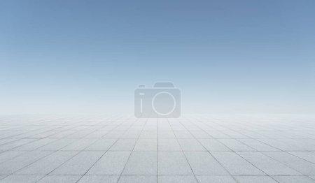 Photo pour Plancher de béton carré vide avec matin clair fond de ciel clair - image libre de droit