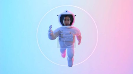 Photo pour Jeune adolescent astronaute échapper au vide. - image libre de droit
