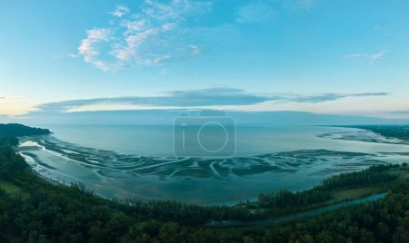 Photo for Aerial view of morning tranquil beach in Kuantan city, Malaysia - Royalty Free Image