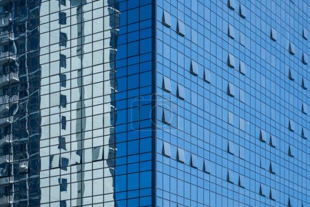Photo for Closeup glass facade of office skyscraper building - Royalty Free Image