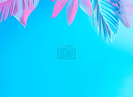 Minimal surrealism summer background with tropical and palm leaves in vibrant bold gradient holographic neon colors, Concept art