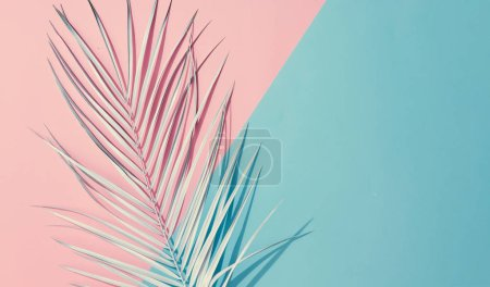 Photo for Tropical bright colorful background with exotic painted tropical palm leaf, Minimal fashion summer concept - Royalty Free Image