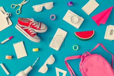 Photo for Creative layout of school supplies against pastel blue background. Minimal back to school concept - Royalty Free Image