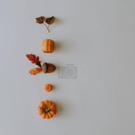 Creative layout made of autumn leaves and pumpkins . Minimal flat lay. Season food concept.