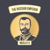 Vector portrait of the last Emperor of the Russian Empire Nicholas II Layers: composite contour gravure gradient strips frames and backdrop