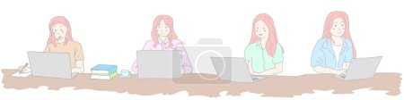 Illustration for Woman using laptop computer for concept work form home learning for internet shopping online or reading news. - Royalty Free Image