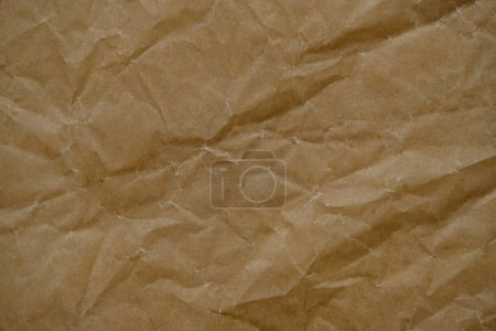 Photo for Wrinkled brown cardboard sheet paper for design background. Textured paper background - Royalty Free Image