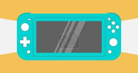 Photo pour Anapa, Fédération de Russie - 10 juillet 2019: Nintendo Switch Lite, console de jeu vidéo portable bleue, gadget portatif pour le jeu vidéo sur fond abstrait blanc et orange. illustration - image libre de droit