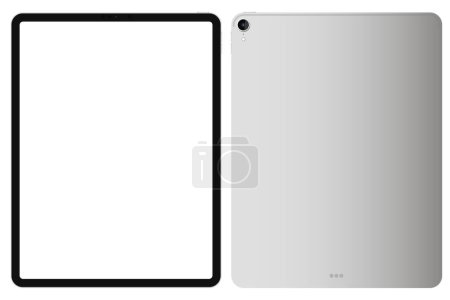 "Photo for Anapa, Russian Federation - October, 16, 2019: illustration iPad Pro 2018 12,9"" by Apple. Front and back side.  Gadget mock up with white screen. Concept for app, web, presentation, design. - Royalty Free Image"
