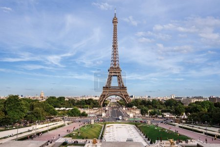 Photo for Paris, France - August 14, 2017. View of Eiffel Tower monument, Paris skyline and Trocadero gardens from Trocadero palace by summer. - Royalty Free Image