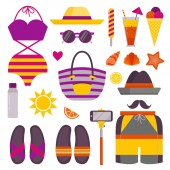 Summer Beach Stuff and Accessories Icons