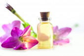 winged tobacco essential oil in  beautiful bottle on White backg