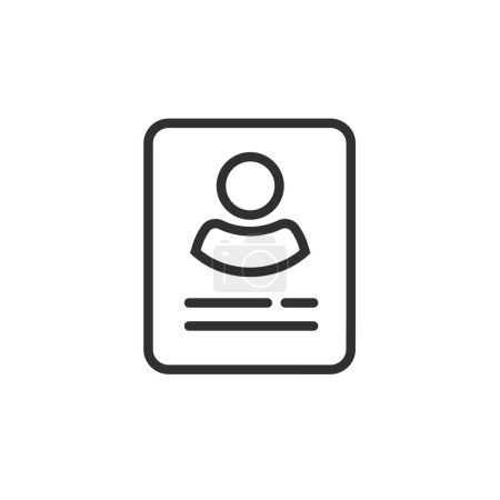 Personal info data icon vector isolated, line outline user, profile card details symbol, my account pictogram idea, identity document with person photo and text pictogram