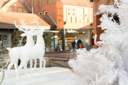 Shopping centre with festive christmas decorations