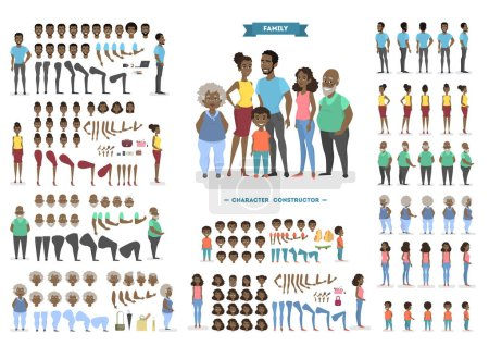 Illustration for Happy african american family character set for animation with various views, hairstyles, face emotions, poses and gestures. Front, side and back view. Isolated vector illustration in cartoon style - Royalty Free Image