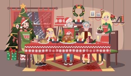 Photo pour Joyeux famille en pull confortable assis à la table de Noël. Mère et père, enfant et grands-parents ont un dîner de Noël. Illustration vectorielle plate - image libre de droit