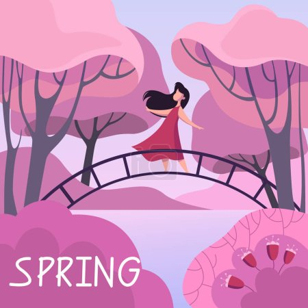 Illustration for Spring season. Bright nature, beautiful outdoor view. Woman on the bride in park around sakura. Vector illustration in cartoon style - Royalty Free Image