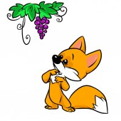 Fox Grapes Fables cartoon illustration isolated image