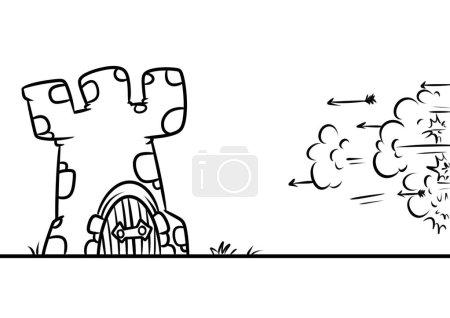 Photo pour Forteresse médiévale attaque dessin animé illustration minimalisme coloriage - image libre de droit