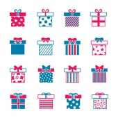 Colorful gift boxes vector icons set