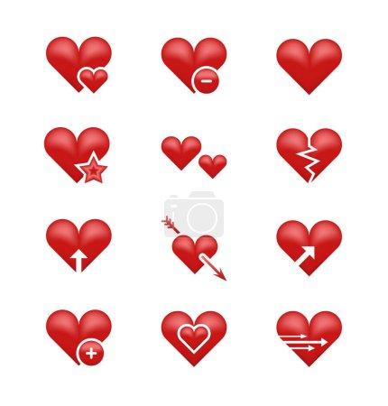 Heart love emoji, emoticons vector set. Broken hea...