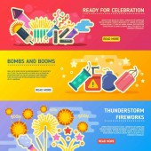 Holiday fire crackers show set of vector business banners