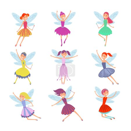 Cartoon flying fairies in colorful dresses vector set. Cute fairy elf with winds vector collection