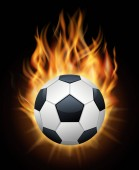 Realistic burning soccer ball isolated black vector Sport football ball illustration