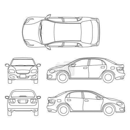Illustration pour Décrivez le dessin vectoriel de voiture de berline dans différents points de vue. Schéma berline auto, illustration de la documentation projet voiture berline - image libre de droit