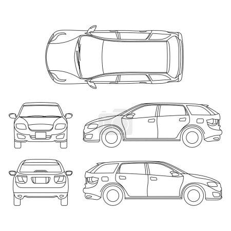 Illustration pour Dessin au trait du véhicule blanc de voiture, art vectoriel d'ordinateur. Modèle de voiture, illustration graphique esquissée de voiture de transport - image libre de droit
