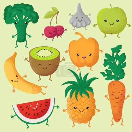Illustration pour Heureux fruits de dessin animé et légumes de jardin avec des visages mignons personnages vectoriels drôles. Visage sourire de fruits, illustration de caractère légume et fruits - image libre de droit