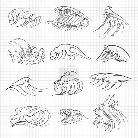 Illustration pour Croquis des vagues expressives de l'océan sur la page du carnet. Illustration vectorielle - image libre de droit