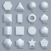 Top view realistic white math basic 3d shapes vector set Three dimensional geometric figures