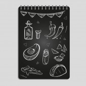 Hand drawn mexican food and drinks set on black notebook page Vector illustration