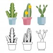 Hand drawn and colored cartoon flat cactus of set....