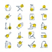 Laundry and washing service line icons set