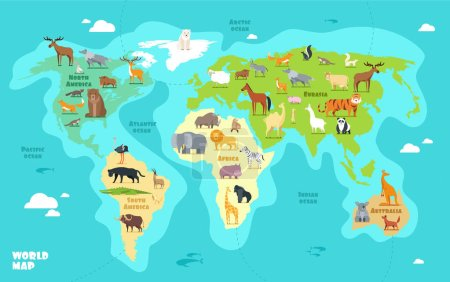 Illustration for Cartoon world map with animals, oceans and continents. Funny geography for kids education vector illustration. World planet, africa and asia, america and australia - Royalty Free Image