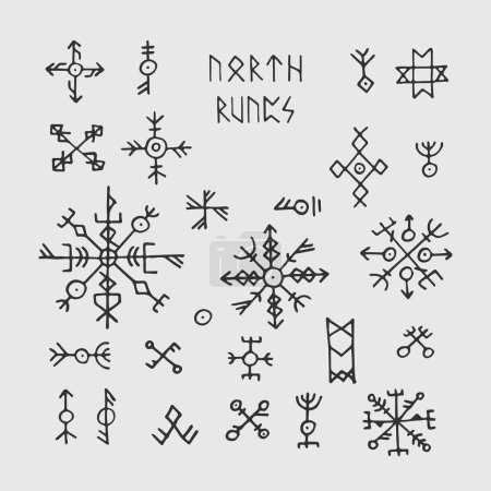 Futhark norse viking runes and talismans. Nordic p...