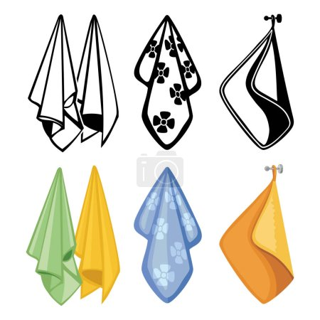 Colorful and black towels collection. Textile towels vector