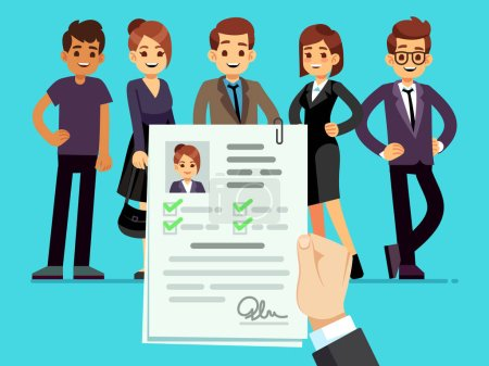 Recruitment. Recruiter choosing candidates with fe...