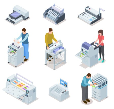 Printing house equipment. Printer plotter, offset cutting machines and people workers. Industrial polygraphy isometric vector icons