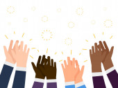 Applause flat illustration International people hands clapping vector concept