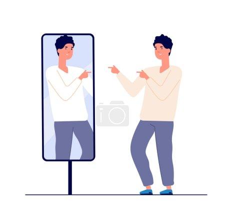 Homme au miroir. Réflexion égocentrique, amour de soi. narcissisme et vanité. concept de vecteur miroir égoïste