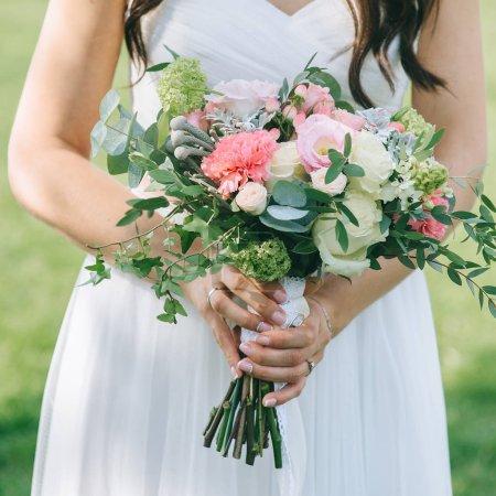 wedding dress, wedding rings, wedding bouquet