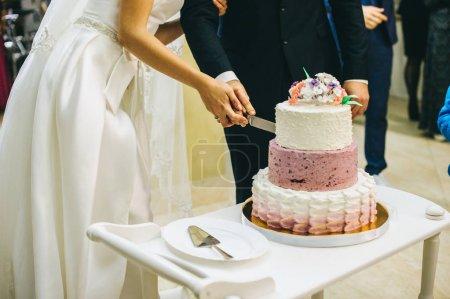 couple marié, couper le gâteau de mariage