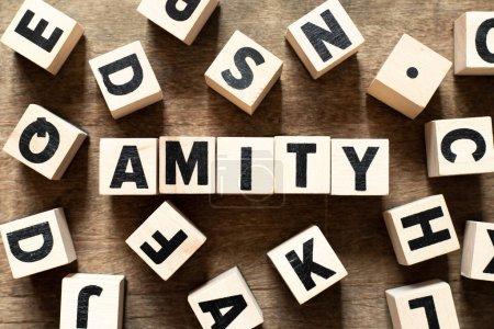 Photo pour Bloc de lettre en bois en mot amity sur fond bois avec un autre alphabet - image libre de droit
