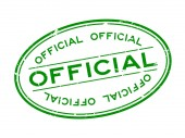 Grunge green official word oval rubber seal stamp on white background