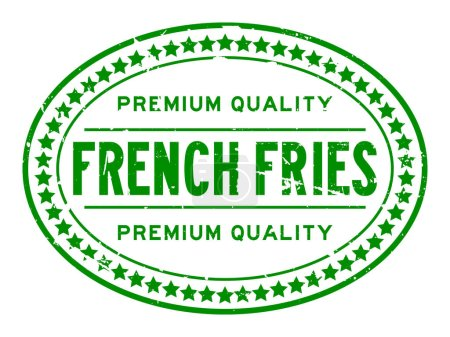 Illustration for Grunge green premium quality french fries oval rubber seal stamp on white background - Royalty Free Image