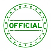 Grunge green official word round rubber seal stamp on white background